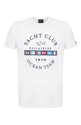 Мужская хлопковая футболка PAUL&SHARK белого цвета, арт. 21411096/C00 | Фото 1 (Материал внешний: Хлопок; Рукава: Короткие; Длина (для топов): Стандартные; Принт: С принтом; Стили: Кэжуэл)