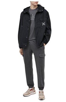 Мужская хлопковая футболка PAUL&SHARK серого цвета, арт. 21411059/C00 | Фото 2