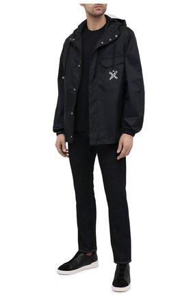 Мужская хлопковая футболка PAUL&SHARK черного цвета, арт. 21411017/C00 | Фото 2