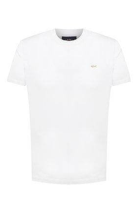 Мужская хлопковая футболка PAUL&SHARK белого цвета, арт. 21411017/C00 | Фото 1 (Принт: Без принта; Рукава: Короткие; Длина (для топов): Стандартные; Материал внешний: Хлопок; Стили: Кэжуэл)