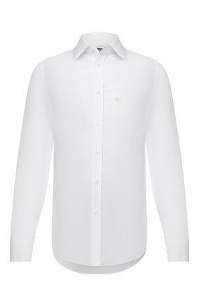 Мужская хлопковая рубашка GUCCI белого цвета, арт. 649696/ZAGIR | Фото 1 (Рубашки М: Slim Fit; Принт: Однотонные; Рукава: Длинные; Манжеты: На пуговицах; Длина (для топов): Стандартные; Случай: Повседневный; Материал внешний: Хлопок; Воротник: Кент; Стили: Кэжуэл)