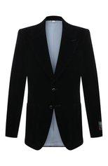Мужской пиджак из хлопка и льна GUCCI черного цвета, арт. 648932/Z8AMW | Фото 1