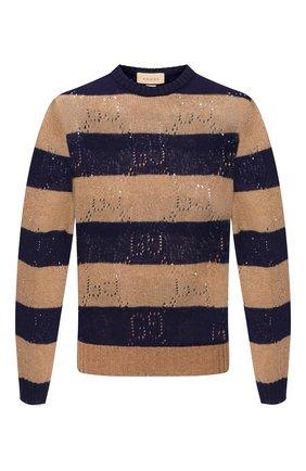 Мужской шерстяной свитер GUCCI бежевого цвета, арт. 645293/XKBPH | Фото 1