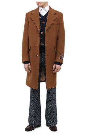 Мужской шерстяное пальто GUCCI коричневого цвета, арт. 609000/ZACEV | Фото 2