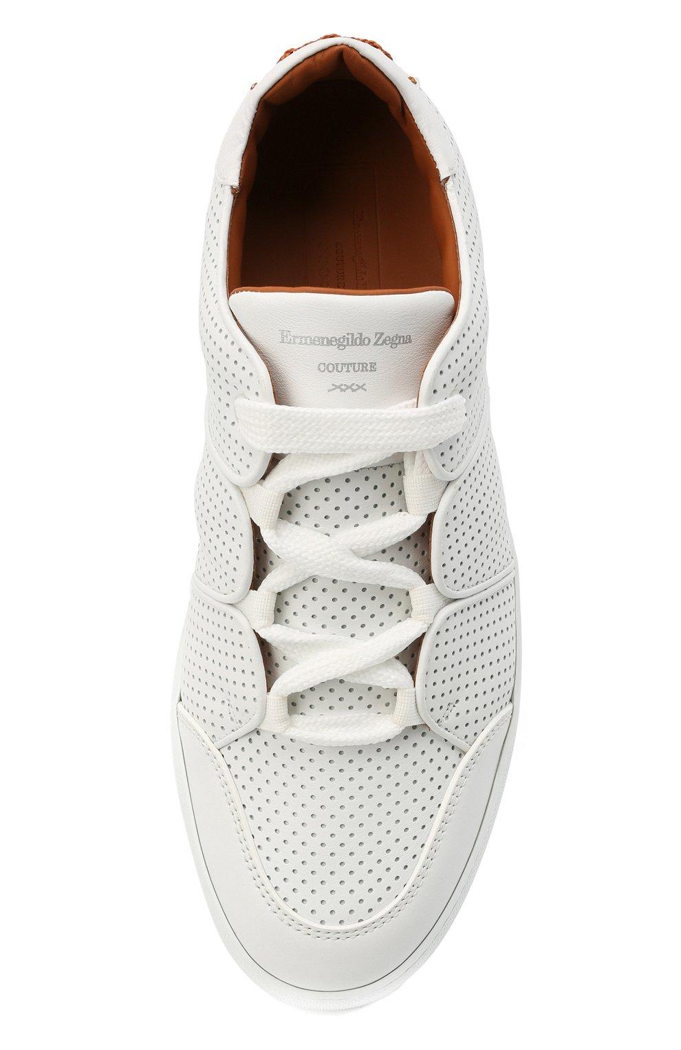 Мужские кожаные кеды tiziano ZEGNA COUTURE белого цвета, арт. A4867X-LHNTP | Фото 5 (Материал внутренний: Натуральная кожа; Подошва: Массивная)