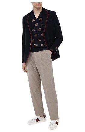 Мужские кожаные кеды new ace GUCCI белого цвета, арт. 386750/02JR0 | Фото 2