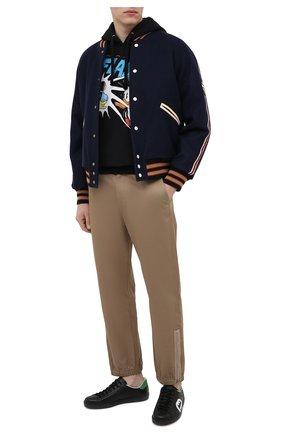 Мужские кожаные кеды new ace GUCCI черного цвета, арт. 625783/1XG70 | Фото 2