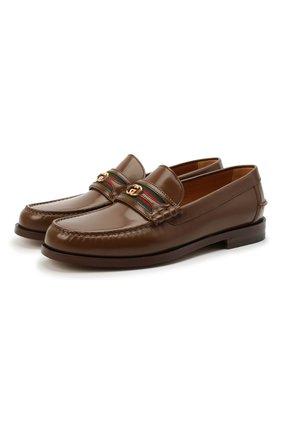 Мужские кожаные лоферы GUCCI коричневого цвета, арт. 644724/17X10 | Фото 1
