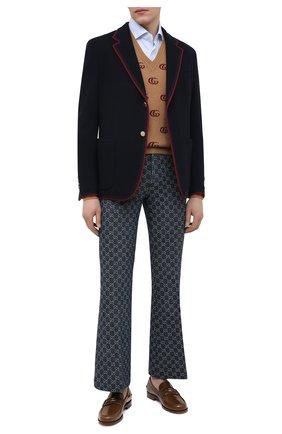 Мужские кожаные лоферы GUCCI коричневого цвета, арт. 644724/17X10 | Фото 2