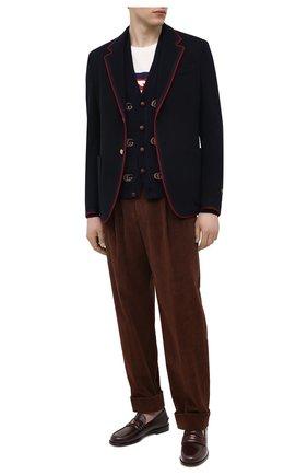 Мужские кожаные лоферы GUCCI бордового цвета, арт. 644724/17X10 | Фото 2 (Материал внутренний: Натуральная кожа; Стили: Кэжуэл; Мужское Кросс-КТ: Лоферы-обувь)