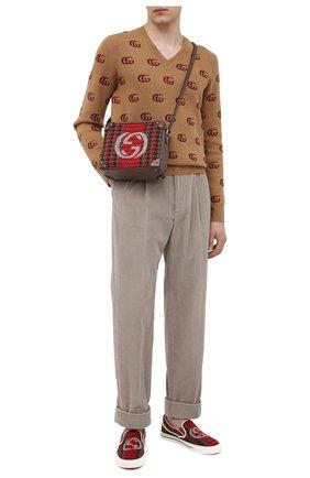 Мужские текстильные слипоны GUCCI разноцветного цвета, арт. 645672/2KT20 | Фото 2
