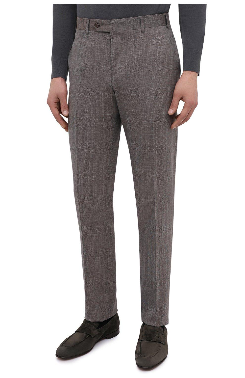 Мужские шерстяные брюки CANALI коричневого цвета, арт. 71019/AA02526 | Фото 3
