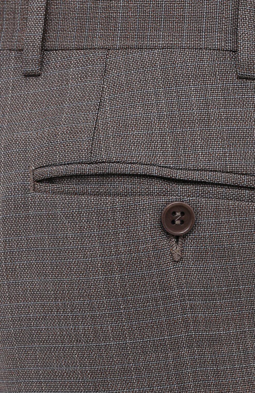 Мужские шерстяные брюки CANALI коричневого цвета, арт. 71019/AA02526 | Фото 5