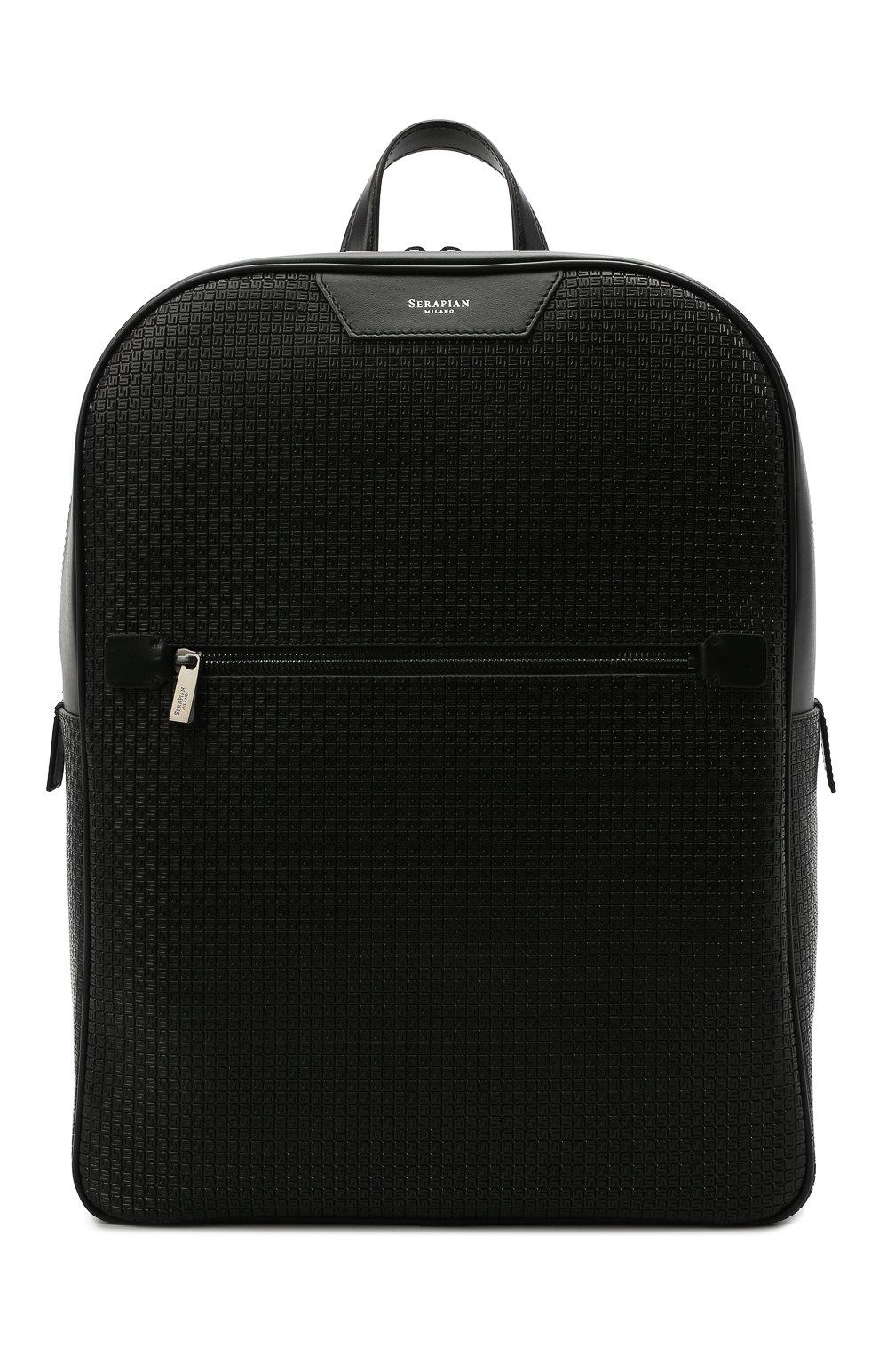 Мужской рюкзак stepan SERAPIAN черного цвета, арт. SRSTPMLL700631D   Фото 1 (Материал: Экокожа)