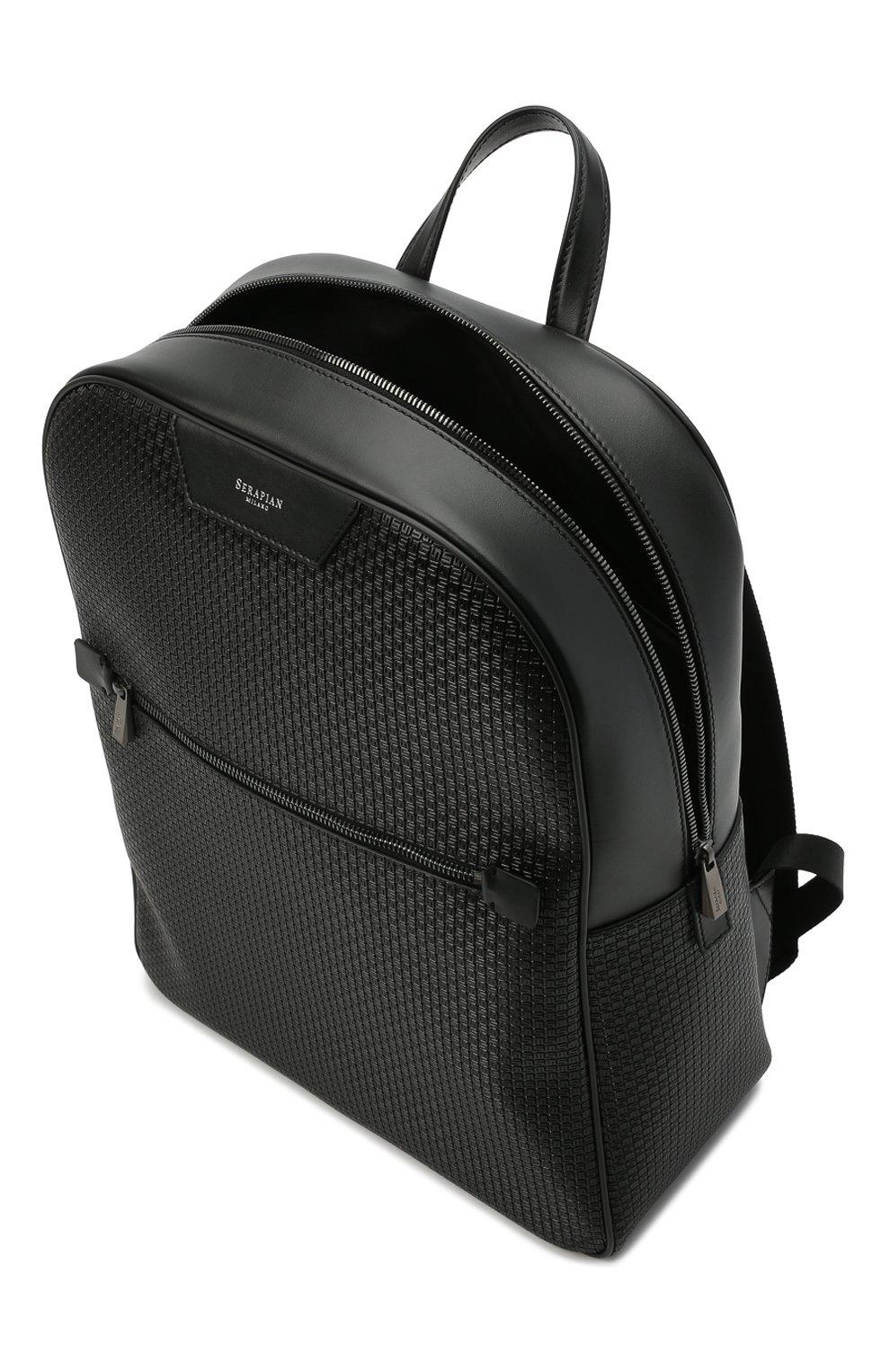 Мужской рюкзак stepan SERAPIAN черного цвета, арт. SRSTPMLL700631D   Фото 4 (Материал: Экокожа)