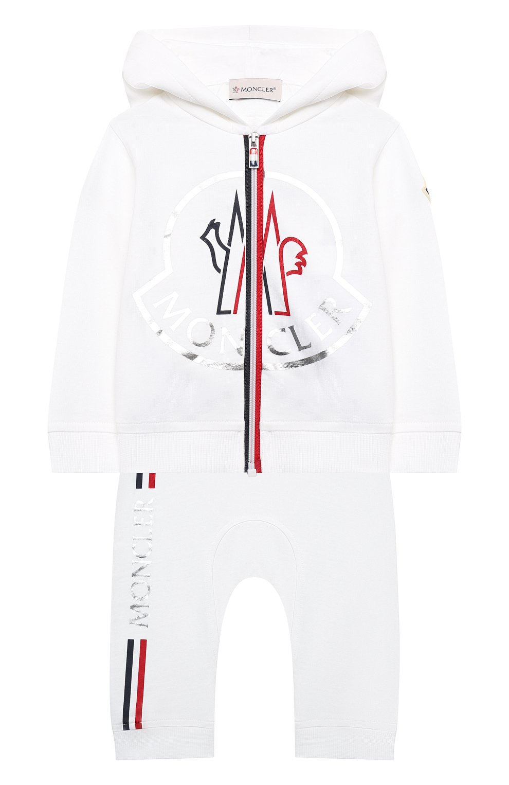 Детский комплект из толстовки и брюк MONCLER белого цвета, арт. G1-951-8M736-00-899AR | Фото 1