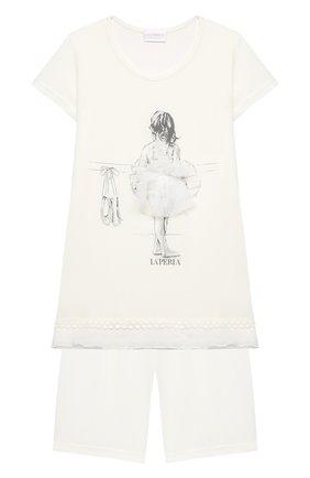 Детская пижама LA PERLA бежевого цвета, арт. 70061/2A-6A | Фото 1