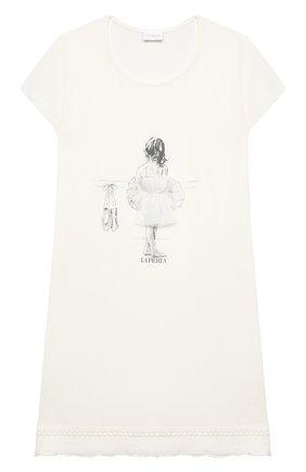 Детская ночная сорочка LA PERLA бежевого цвета, арт. 70063/2A-6A | Фото 1