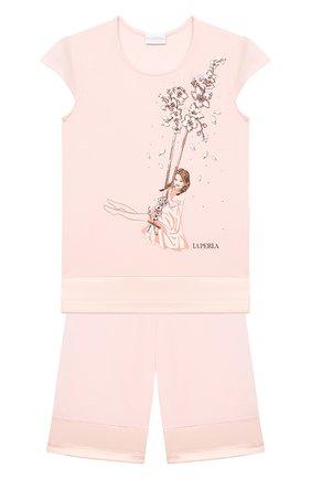 Детская пижама LA PERLA розового цвета, арт. 70141/8A-14A | Фото 1