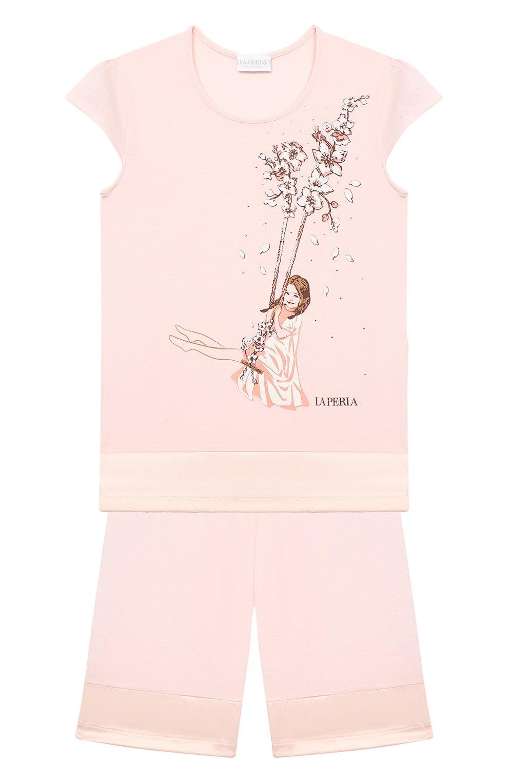 Детская пижама LA PERLA розового цвета, арт. 70141/2A-6A   Фото 1