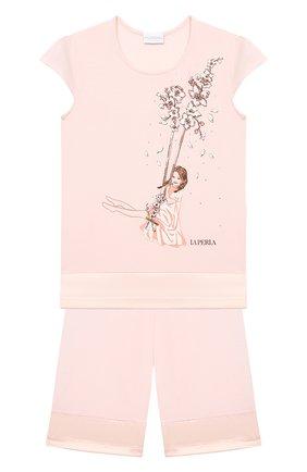 Детская пижама LA PERLA розового цвета, арт. 70141/2A-6A | Фото 1