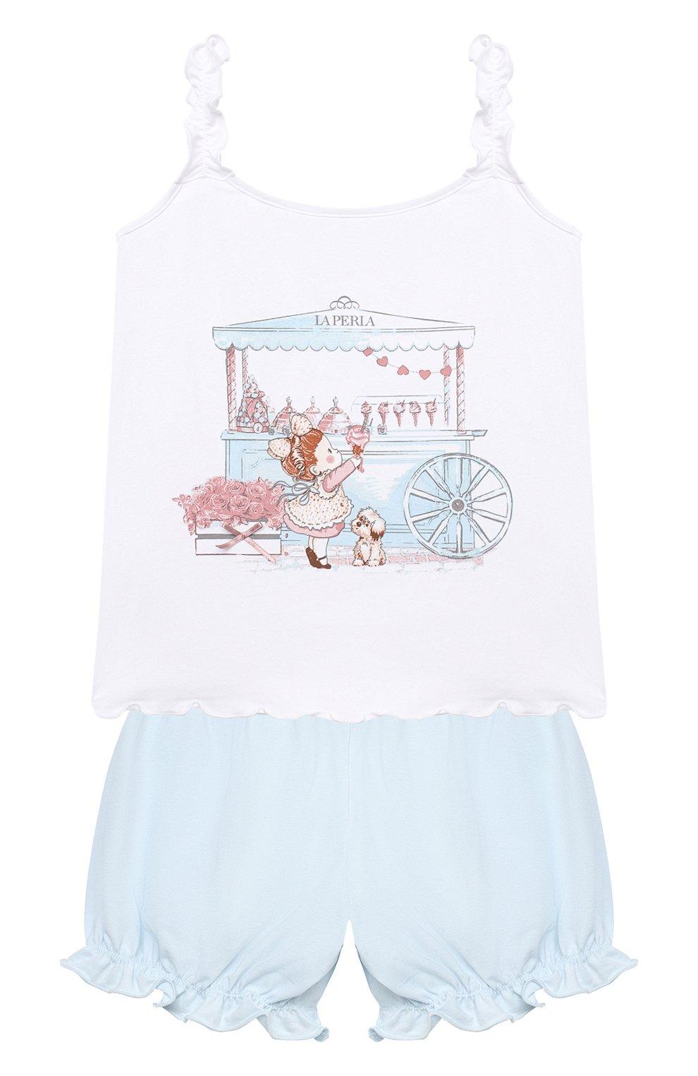 Детская хлопковая пижама LA PERLA голубого цвета, арт. 70241/2A-6A   Фото 1