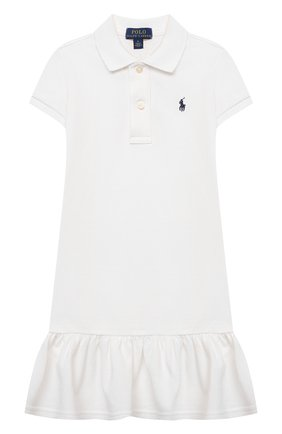 Детское хлопковое платье POLO RALPH LAUREN белого цвета, арт. 312812021 | Фото 1