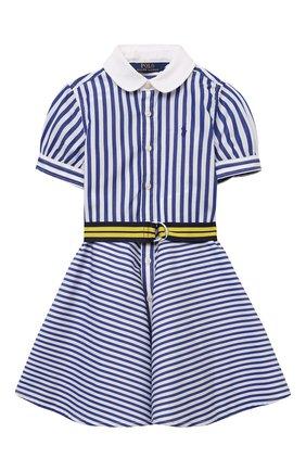 Детское хлопковое платье POLO RALPH LAUREN голубого цвета, арт. 312833014 | Фото 1