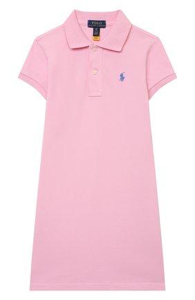 Детское хлопковое платье POLO RALPH LAUREN светло-розового цвета, арт. 313812021 | Фото 1