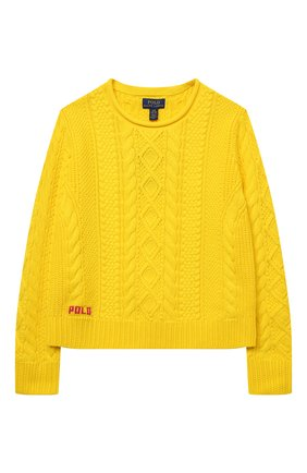 Детский хлопковый пуловер POLO RALPH LAUREN желтого цвета, арт. 313834968 | Фото 1