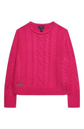 Детский хлопковый пуловер POLO RALPH LAUREN фуксия цвета, арт. 313834968 | Фото 1