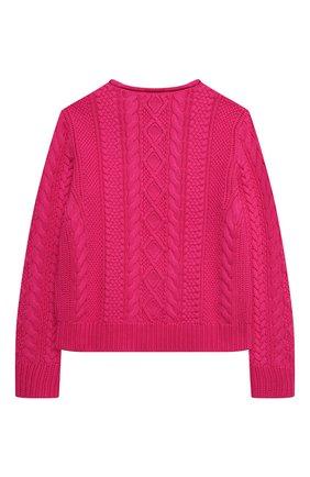 Детский хлопковый пуловер POLO RALPH LAUREN фуксия цвета, арт. 313834968 | Фото 2