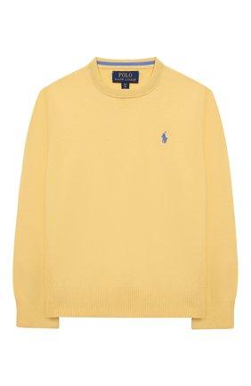 Детский хлопковый пуловер POLO RALPH LAUREN желтого цвета, арт. 323799887 | Фото 1