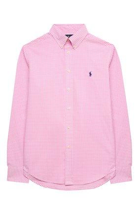 Детская хлопковая рубашка RALPH LAUREN розового цвета, арт. 323833517 | Фото 1 (Материал внешний: Хлопок; Случай: Повседневный; Рукава: Длинные; Ростовка одежда: 13 - 15 лет | 158 см, 10 - 11 лет | 140 - 146см, 9 лет | 134 см, 16 лет | 164 см)