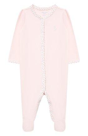 Детский хлопковый комбинезон POLO RALPH LAUREN розового цвета, арт. 310552471 | Фото 1
