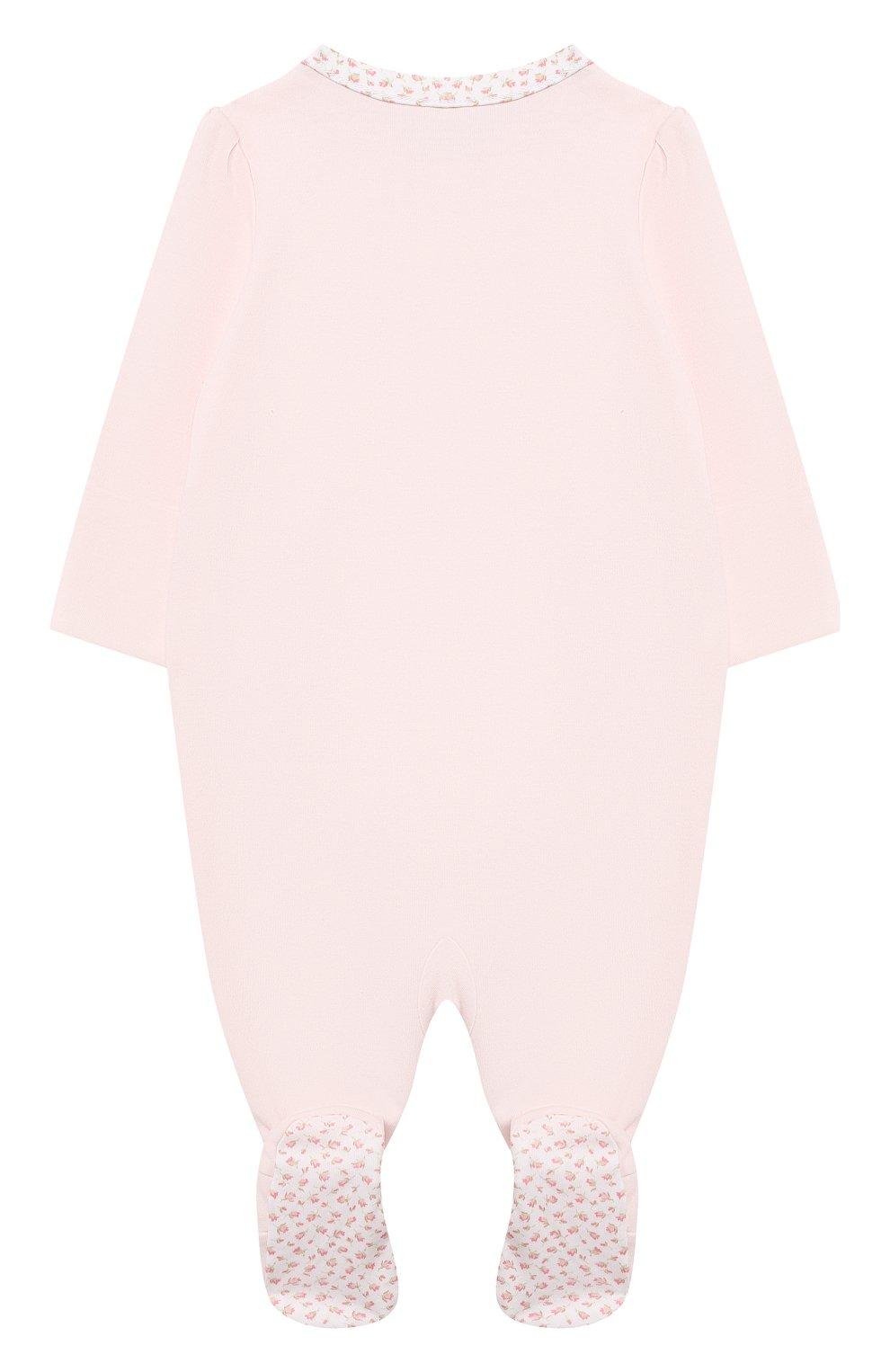 Детский хлопковый комбинезон POLO RALPH LAUREN розового цвета, арт. 310552471 | Фото 2