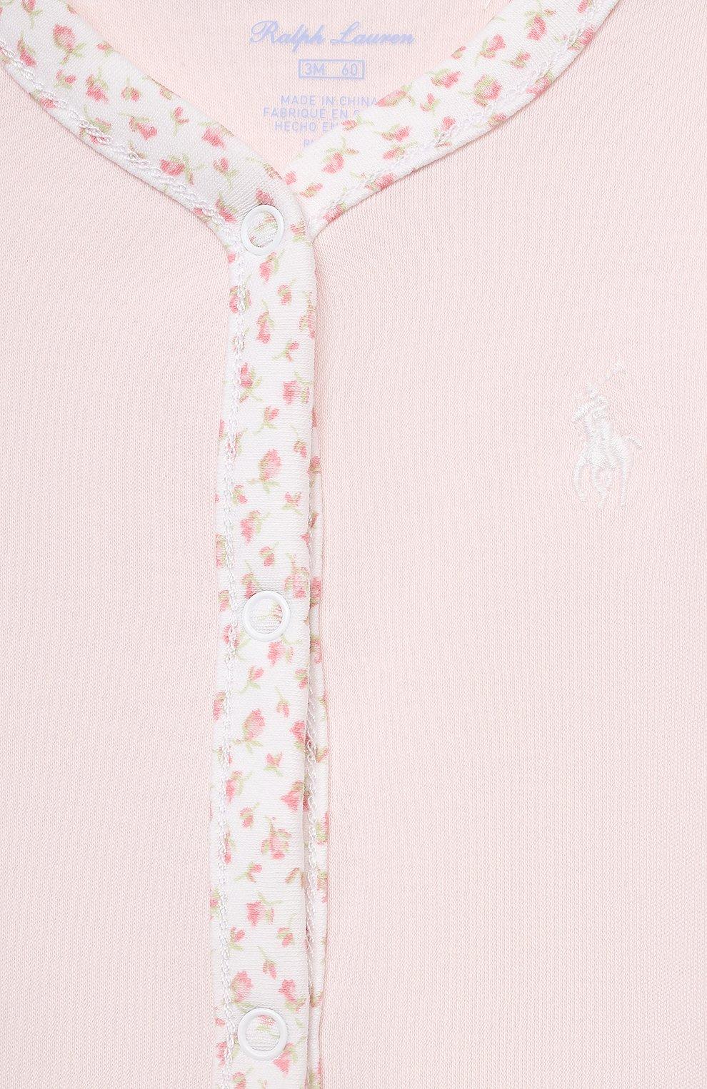 Детский хлопковый комбинезон POLO RALPH LAUREN розового цвета, арт. 310552471 | Фото 3
