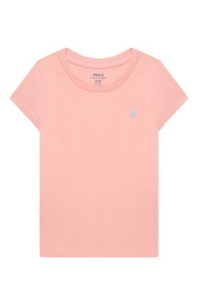 Детская хлопковая футболка POLO RALPH LAUREN розового цвета, арт. 311833549 | Фото 1