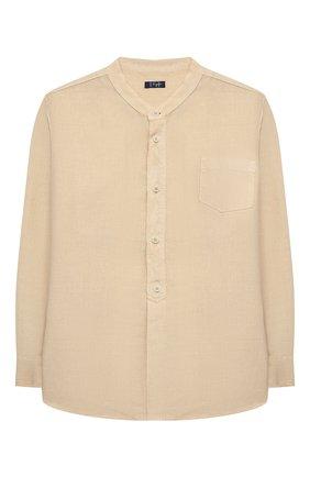 Детская льняная рубашка IL GUFO бежевого цвета, арт. P21CL016L6006/5A-8A | Фото 1 (Случай: Повседневный; Материал внешний: Лен; Рукава: Длинные; Ростовка одежда: 4 года | 104 см, 5 лет | 110 см, 7 лет | 122 см)