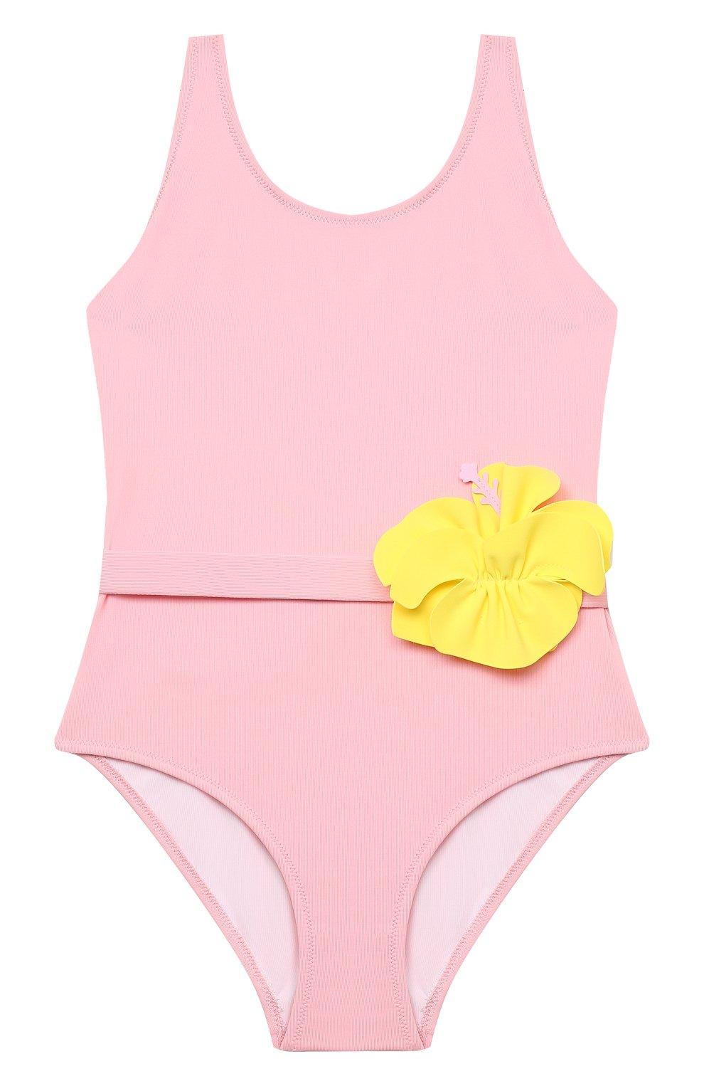 Детского слитный купальник IL GUFO розового цвета, арт. P21CR047N0069/5A-8A | Фото 1