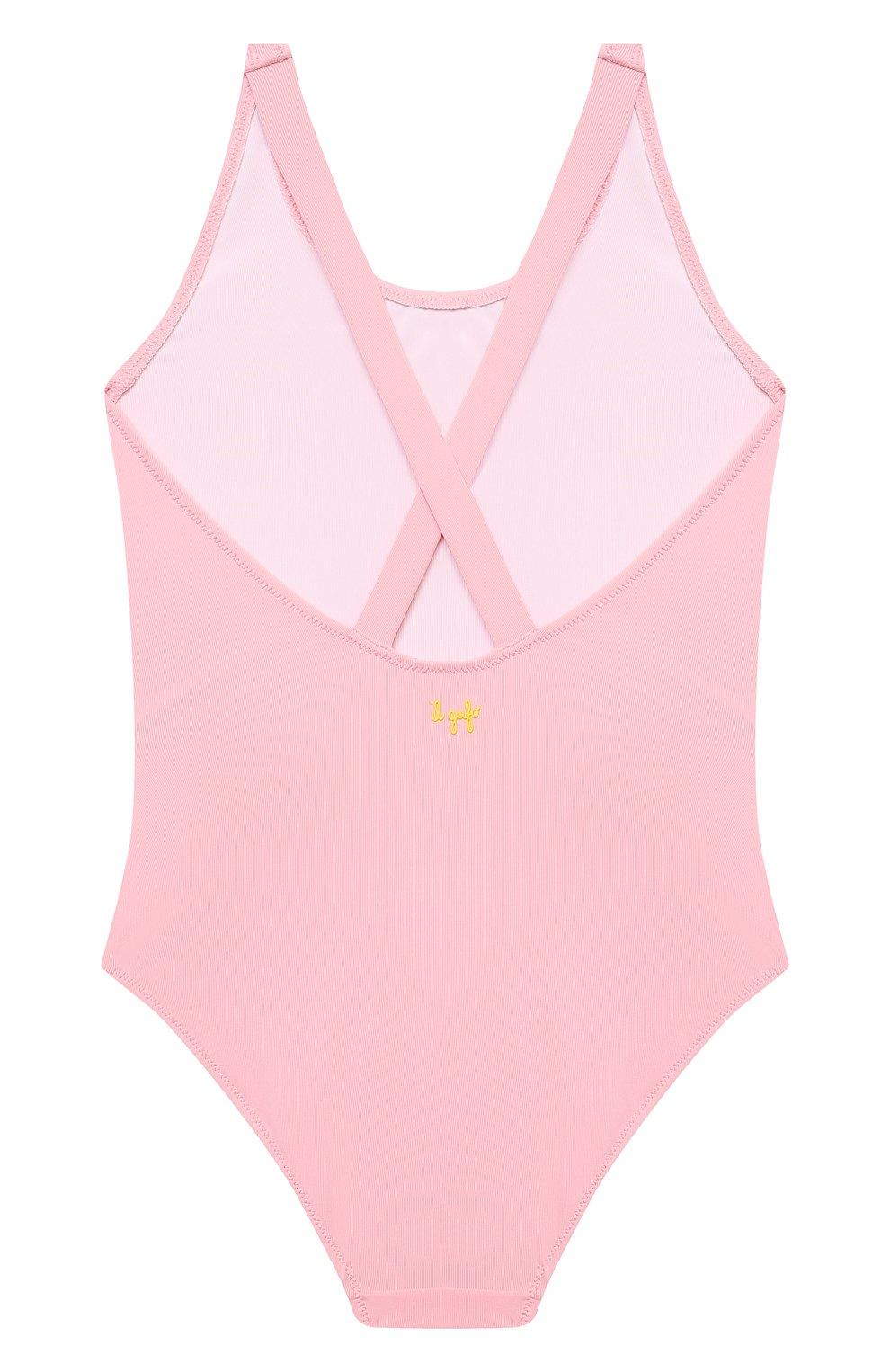 Детского слитный купальник IL GUFO розового цвета, арт. P21CR047N0069/5A-8A | Фото 2