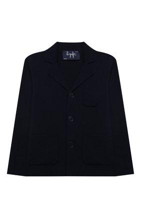 Детский хлопковый пиджак IL GUFO синего цвета, арт. P21GF360EM108/2A-4A | Фото 1 (Рукава: Длинные; Материал внешний: Хлопок; Кросс-КТ: пиджак; Ростовка одежда: 18 мес | 86 см, 2 года | 92 см, 3 года | 98 см)