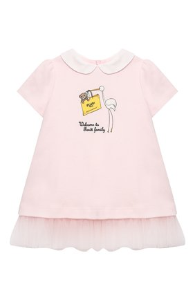 Женский хлопковое платье FENDI розового цвета, арт. BFB325/A8LK/3M-9M | Фото 1