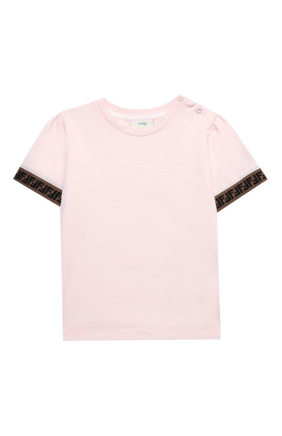 Детский хлопковая футболка FENDI розового цвета, арт. BFI117/ST8/12M-24M | Фото 1