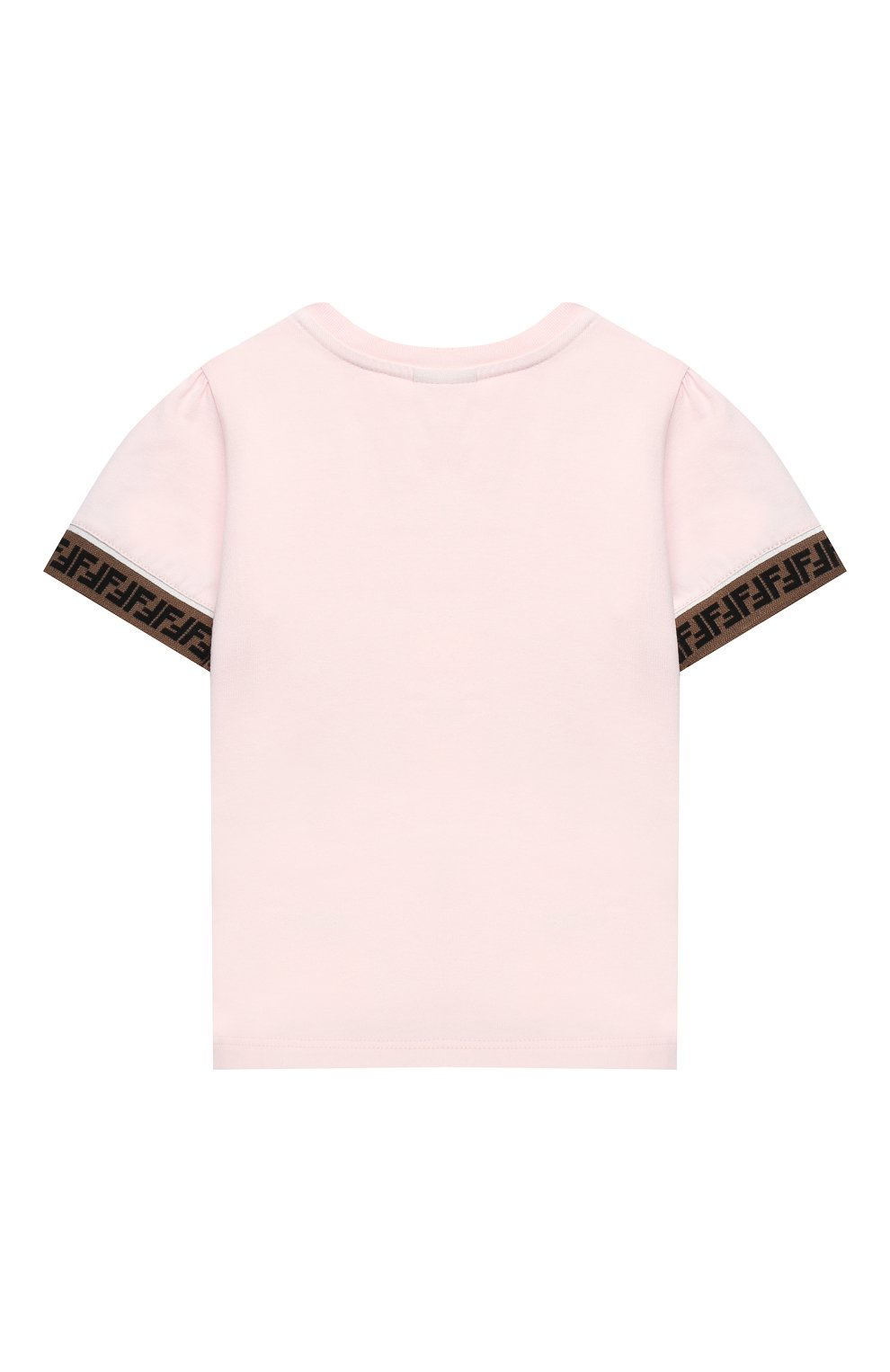Детский хлопковая футболка FENDI розового цвета, арт. BFI117/ST8/12M-24M | Фото 2