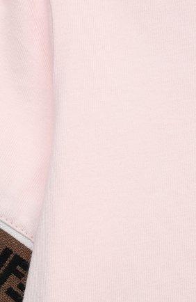 Детский хлопковая футболка FENDI розового цвета, арт. BFI117/ST8/12M-24M | Фото 3