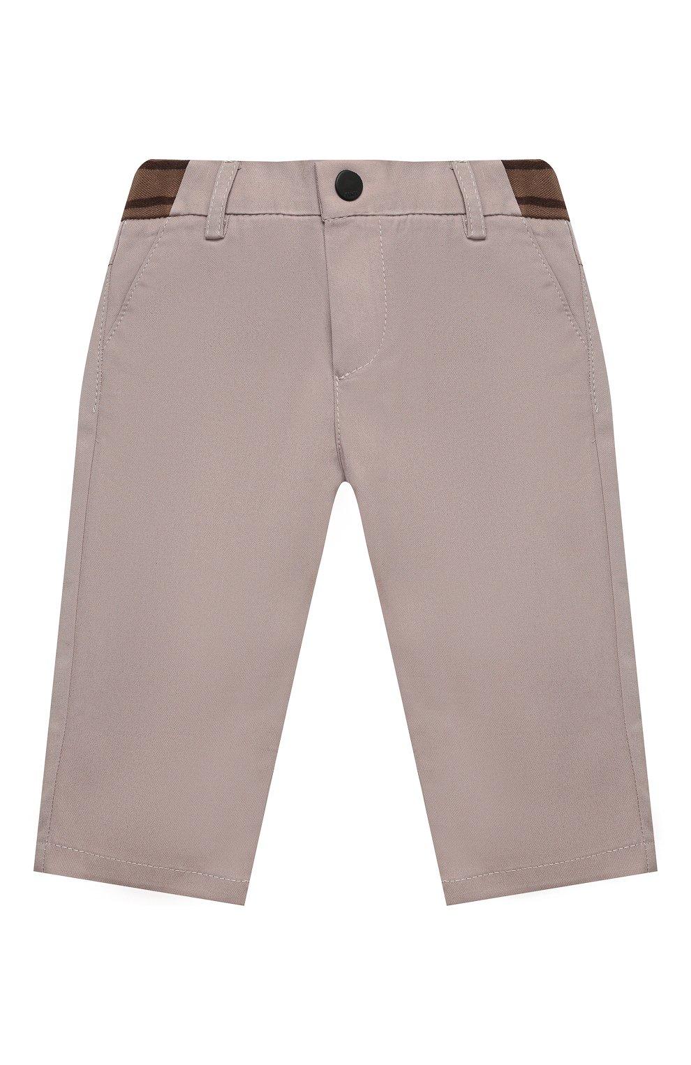 Детские хлопковые брюки FENDI бежевого цвета, арт. BMF179/ADEH/3M-9M   Фото 1