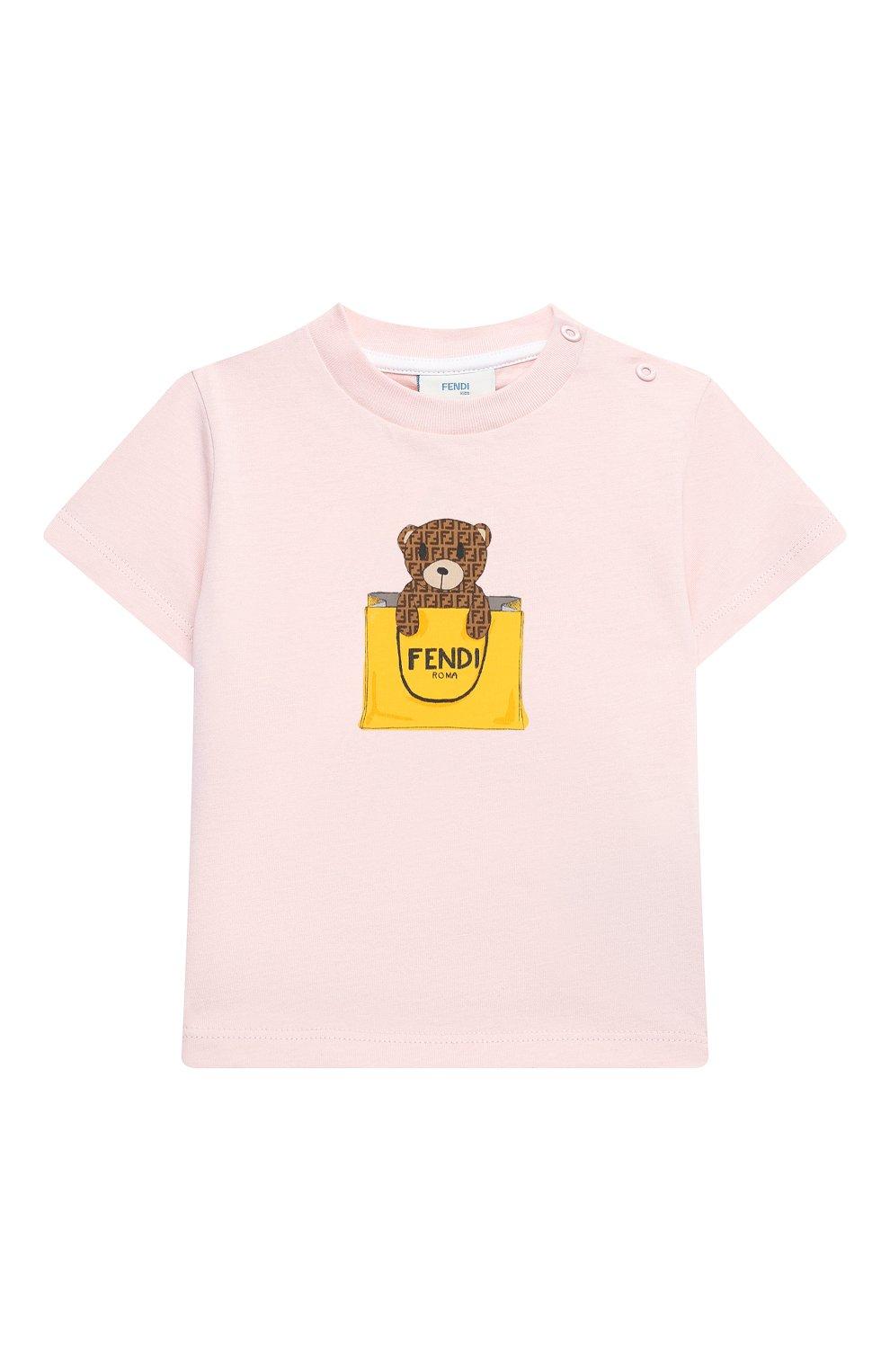Детский хлопковая футболка FENDI розового цвета, арт. BUI016/ST8/12M-24M   Фото 1