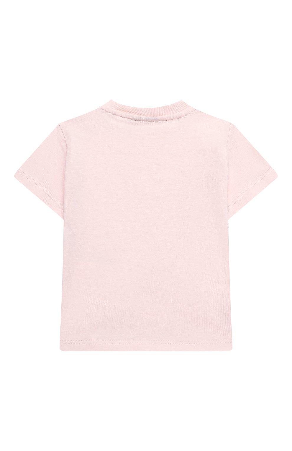 Детский хлопковая футболка FENDI розового цвета, арт. BUI016/ST8/12M-24M   Фото 2