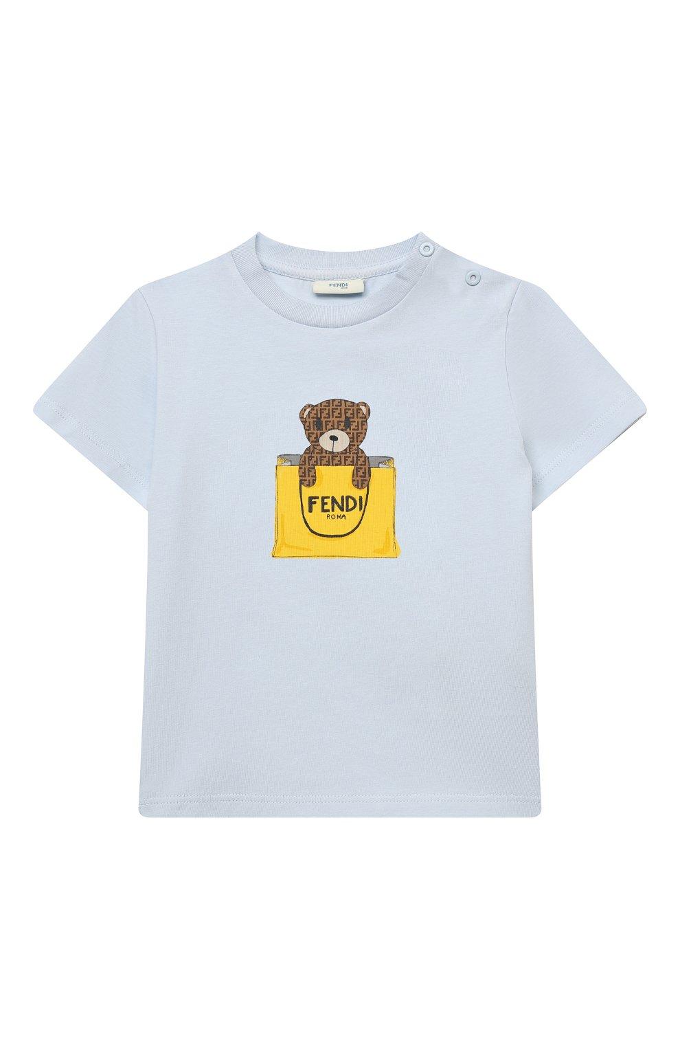 Детский хлопковая футболка FENDI голубого цвета, арт. BUI016/ST8/12M-24M | Фото 1